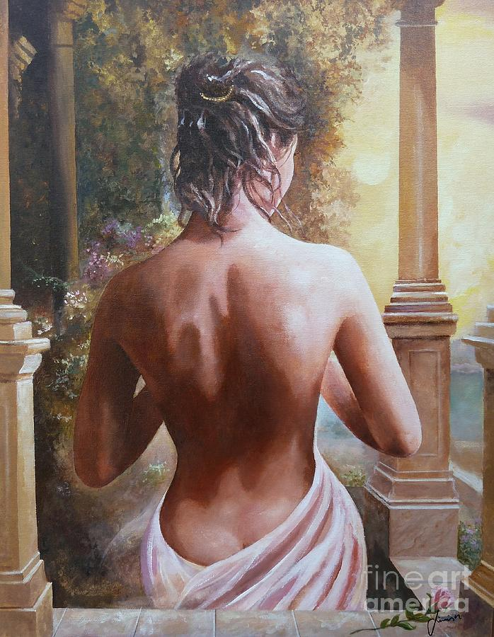 Female Figure Painting - On The Doorway by Sinisa Saratlic
