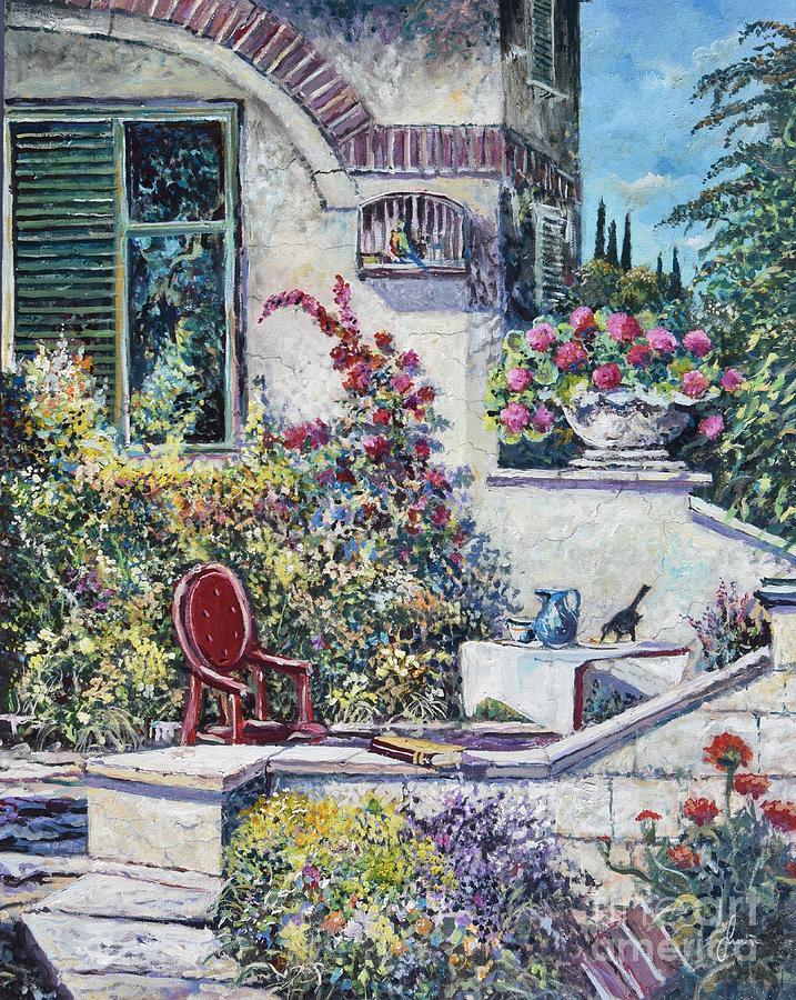 Mediterranean Garden Painting - On The Porch by Sinisa Saratlic
