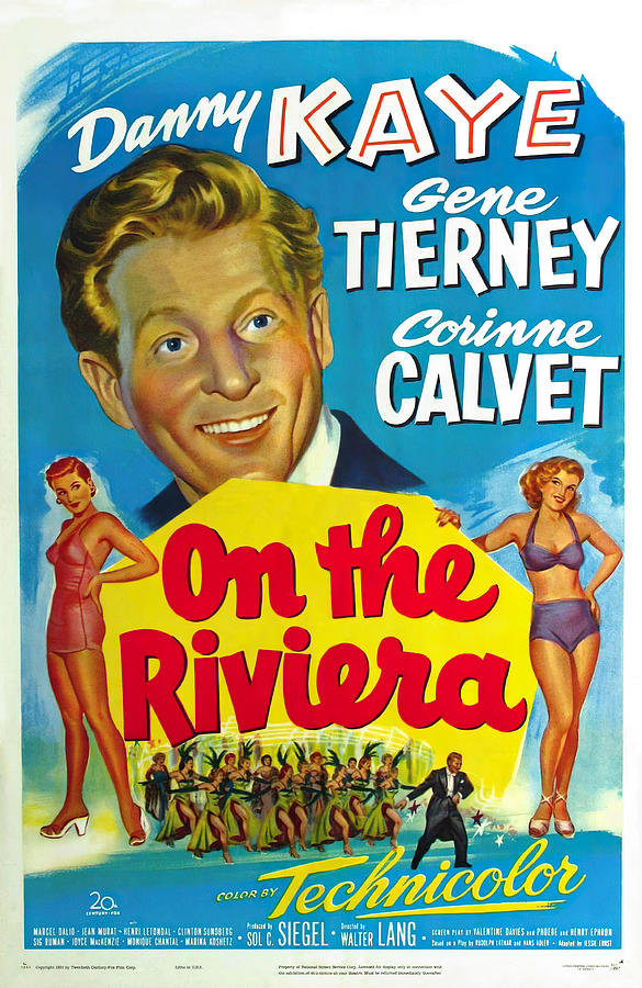 on The Riviera, With Danny Kaye And Gene Tierney, 1951 Mixed Media