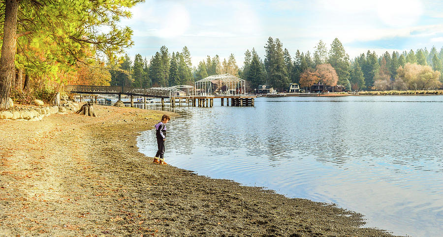 Child Photograph - On the Spokane River by Cindy Nunn