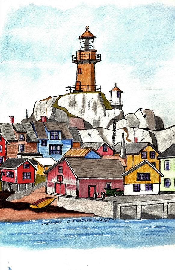 Ona Lighthouse   Norway Drawing