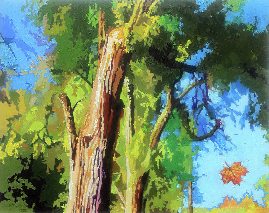 Trees Painting - One Leaf by John Lautermilch