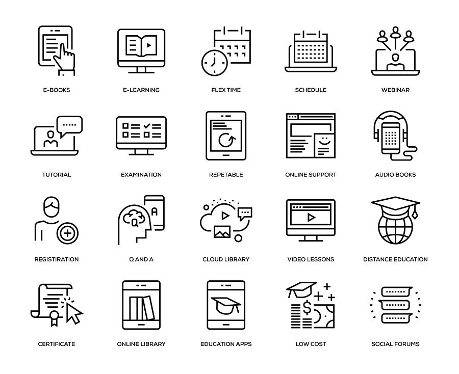 Online Education Icon Set Drawing by Enis Aksoy