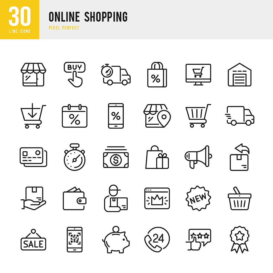Online Shopping - thin linear vector icon set. Pixel perfect. The set contains icons such as Shopping, E-Commerce, Store, Discount, Shopping Cart, Delivering, Wallet, Courier and so on. Drawing by Fonikum