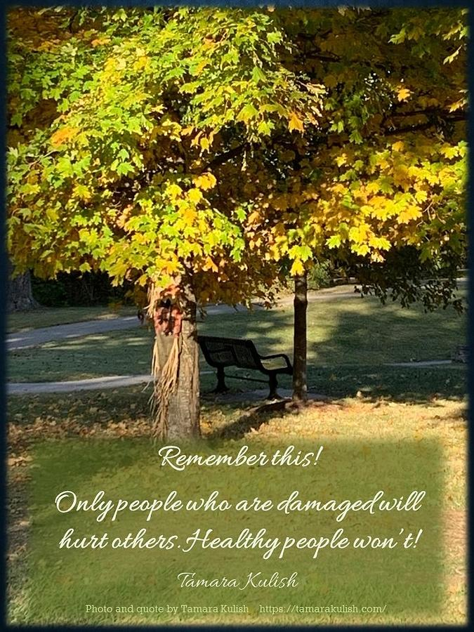 Park Photograph - Only people who are damaged will hurt others by Tamara Kulish