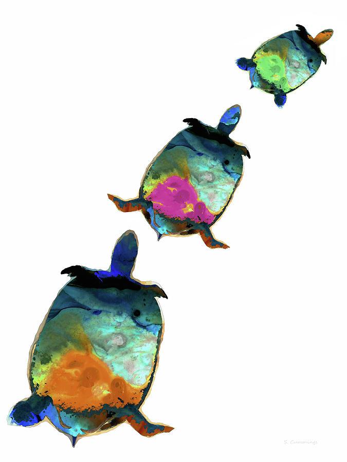 Turtle Painting - Opal Turtles - Colorful Animal Art - Sharon Cummings by Sharon Cummings
