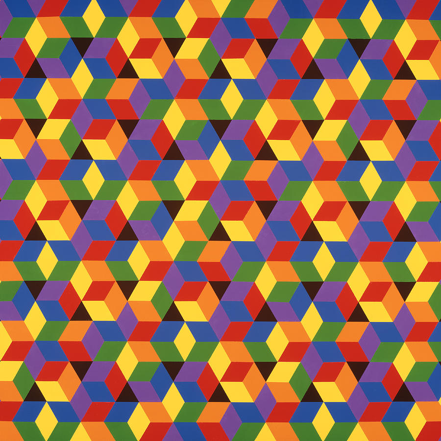 Abstract Painting - Open Hexagonal Lattice I with Square Cropping by Janet Hansen