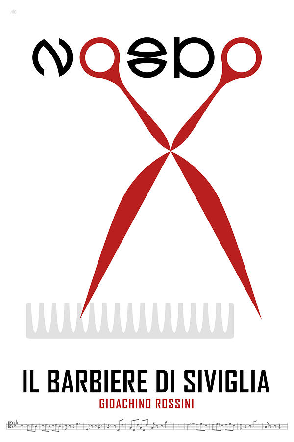 The Barber Of Seville Digital Art - Opera poster - The barber of Seville by Gioachino Rossini by Moira Risen
