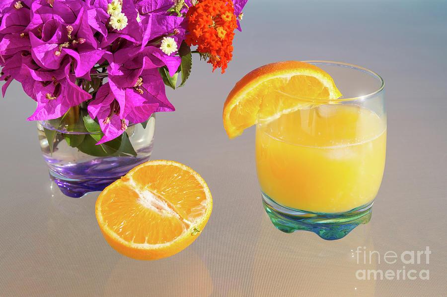 Orange And Tangerine Fruit Juice In The Sunshine Photograph