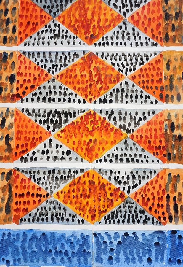 Watercolor Painting - Orange Diamonds Abstract Painting by Bruce Black