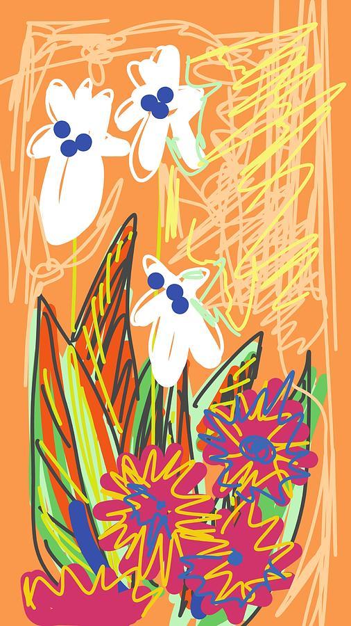 Orange Floral Digital Art by Madeline Dillner