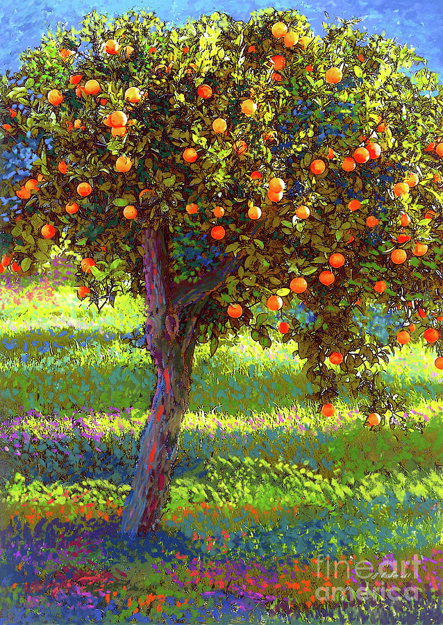 Landscape Painting - Orange Fruit Tree by Jane Small