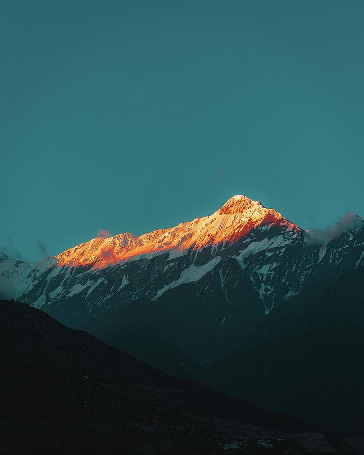 Nepal Photograph - Orange Mountain During Sunrise by Julius Thomas