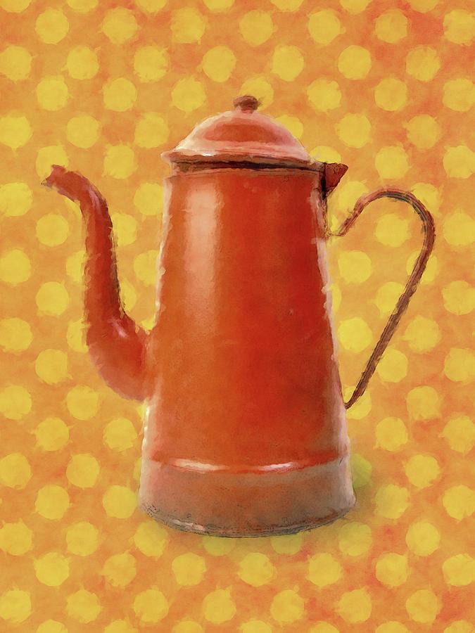Orange Teapot Coffeepot by Flo Karp