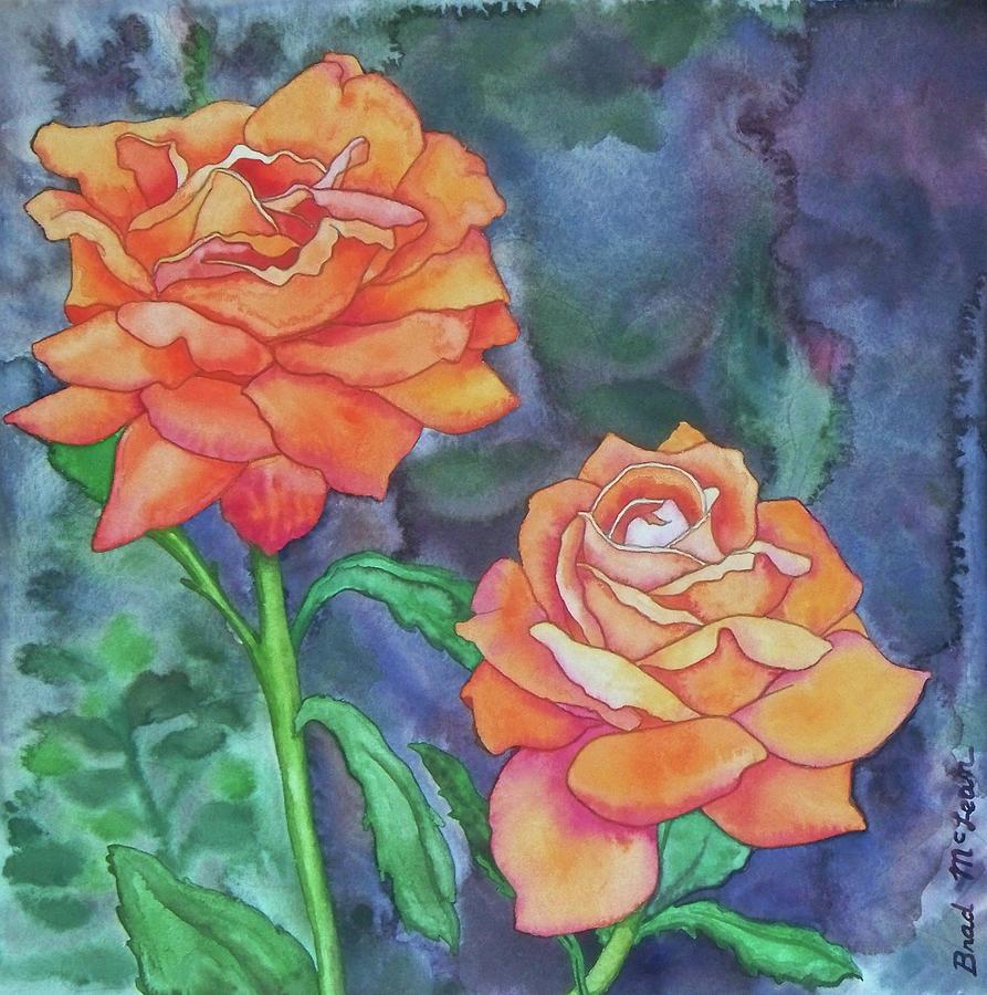 Watercolor Painting - Orange Twins by Brad McLean