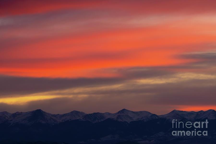 Orange Winter Sunset on the Sangre de Cristo Mountains by Steve Krull