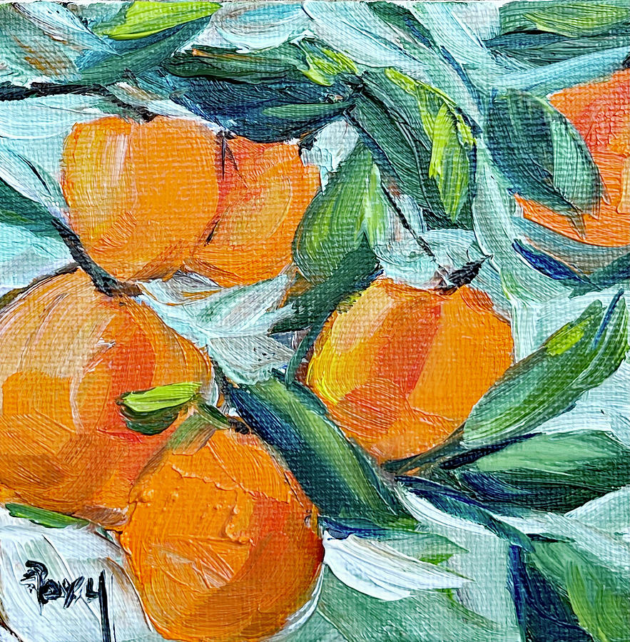 Oranges In A Tree Painting