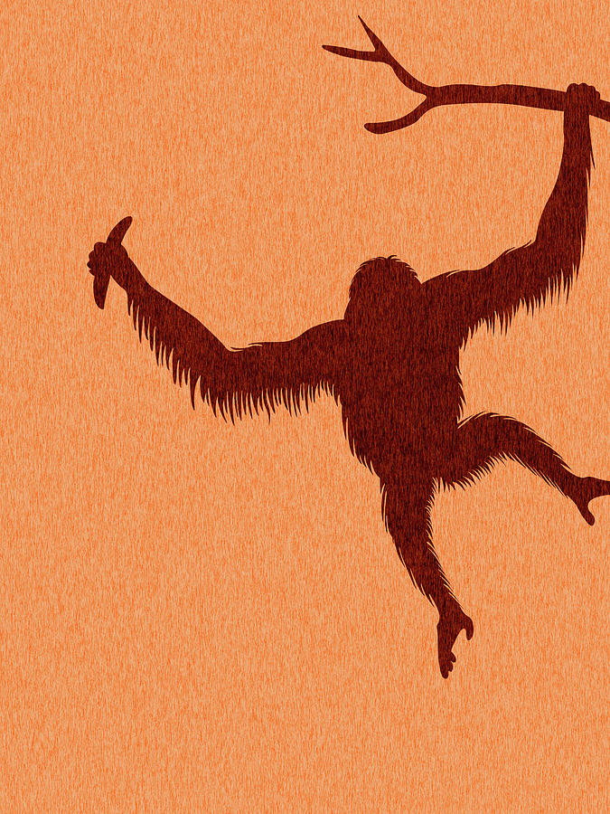 Orangutan Silhouette - Scandinavian Nursery Decor - Animal Friends - For Kids Room - Minimal Mixed Media