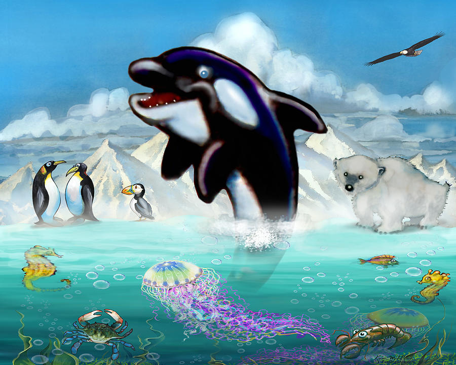 Orca And Arctic Friends Digital Art