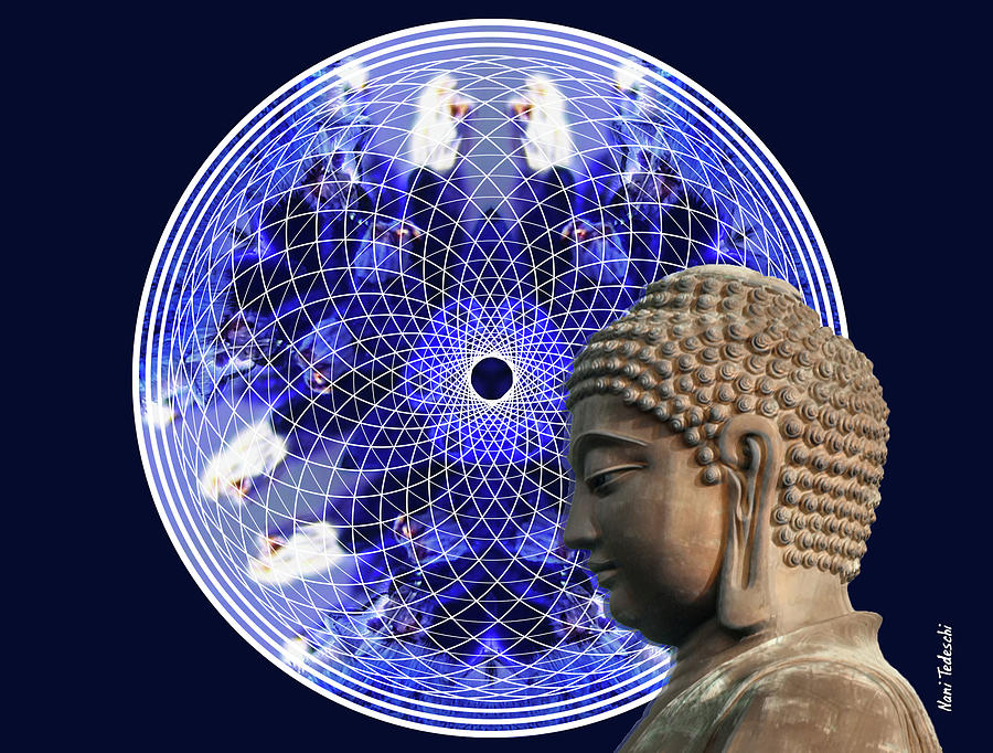Blu Night Digital Art - Orchid Budha by Nani Tedeschi
