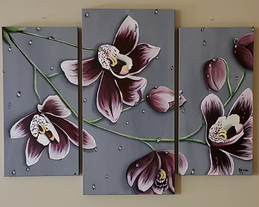 Orchids In The Rain Painting
