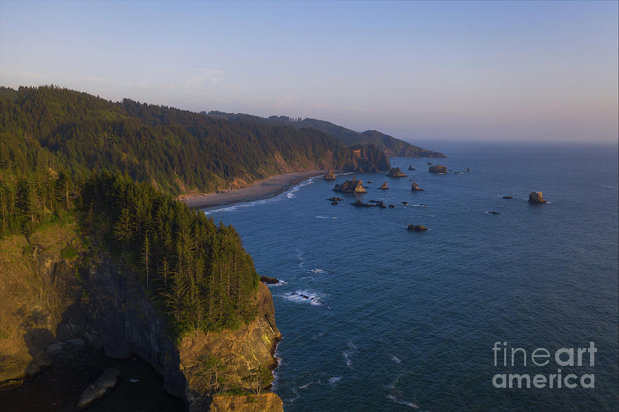 Oregon Coast Aerial Sunset by Michael Ver Sprill