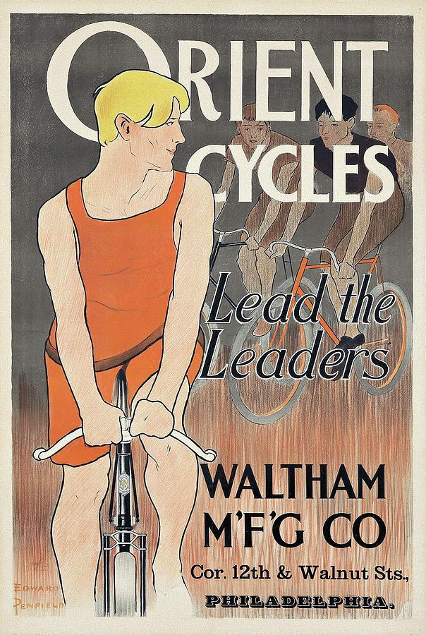 Art Nouveau Painting - Orient Cycles 1895 Bicycle Poster by Edward Penfield