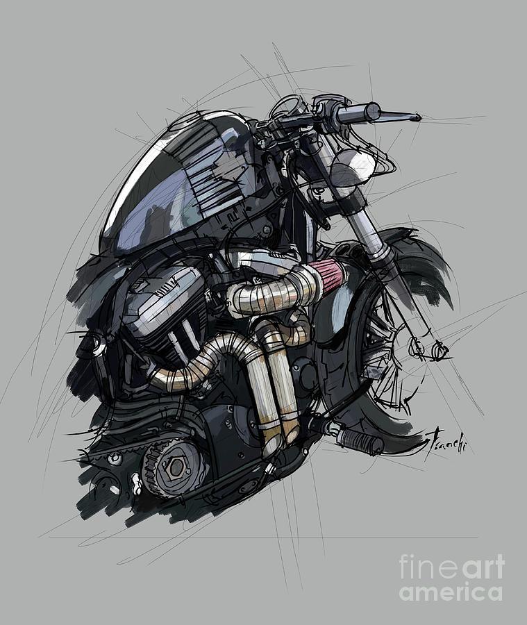 Sketch Drawing - Original Artwork. Harley Davidson Forty Eight Sketch by Drawspots Illustrations