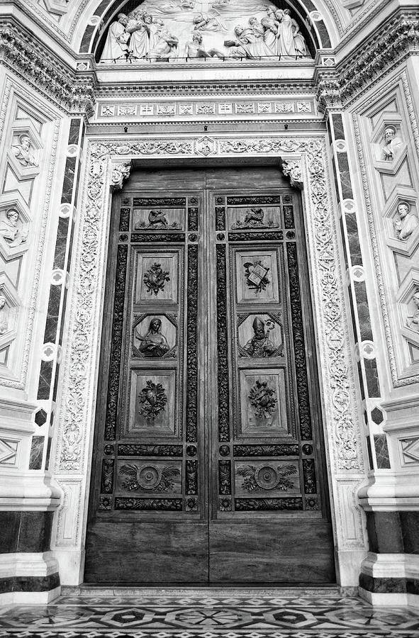 Ornate Hand Carved Wooden Entrance Doors to Basilica Santa Croce Florence Italy Black and White by Shawn O'Brien