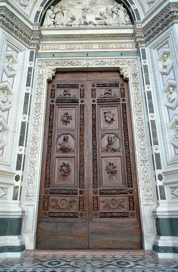 Ornate Hand Carved Wooden Entrance Doors to Basilica Santa Croce Florence Italy by Shawn O'Brien