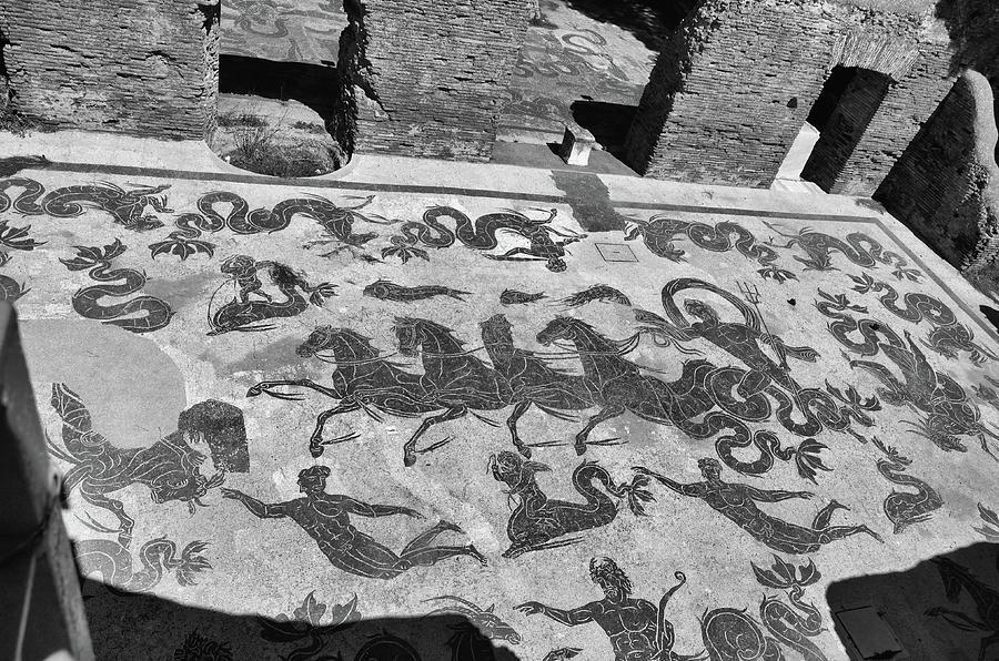 Ostia Antica Ancient Roman Baths of Neptune Tile Mosaics Black and White by Shawn O'Brien