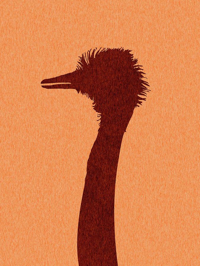 Ostrich Silhouette - Scandinavian Nursery Decor - Animal Friends - For Kids Room - Minimal Mixed Media