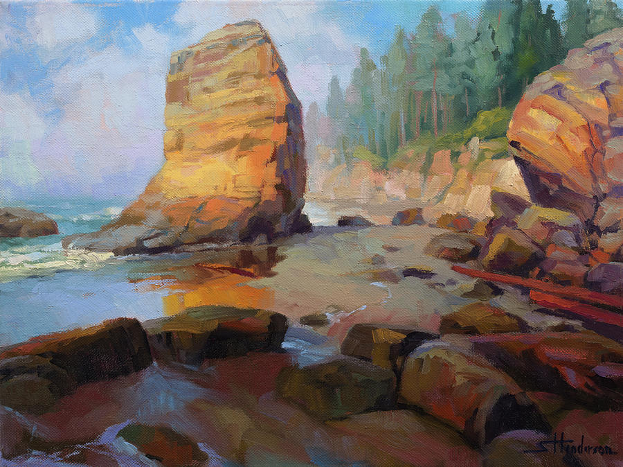 Coast Painting - Otter Rock Beach by Steve Henderson