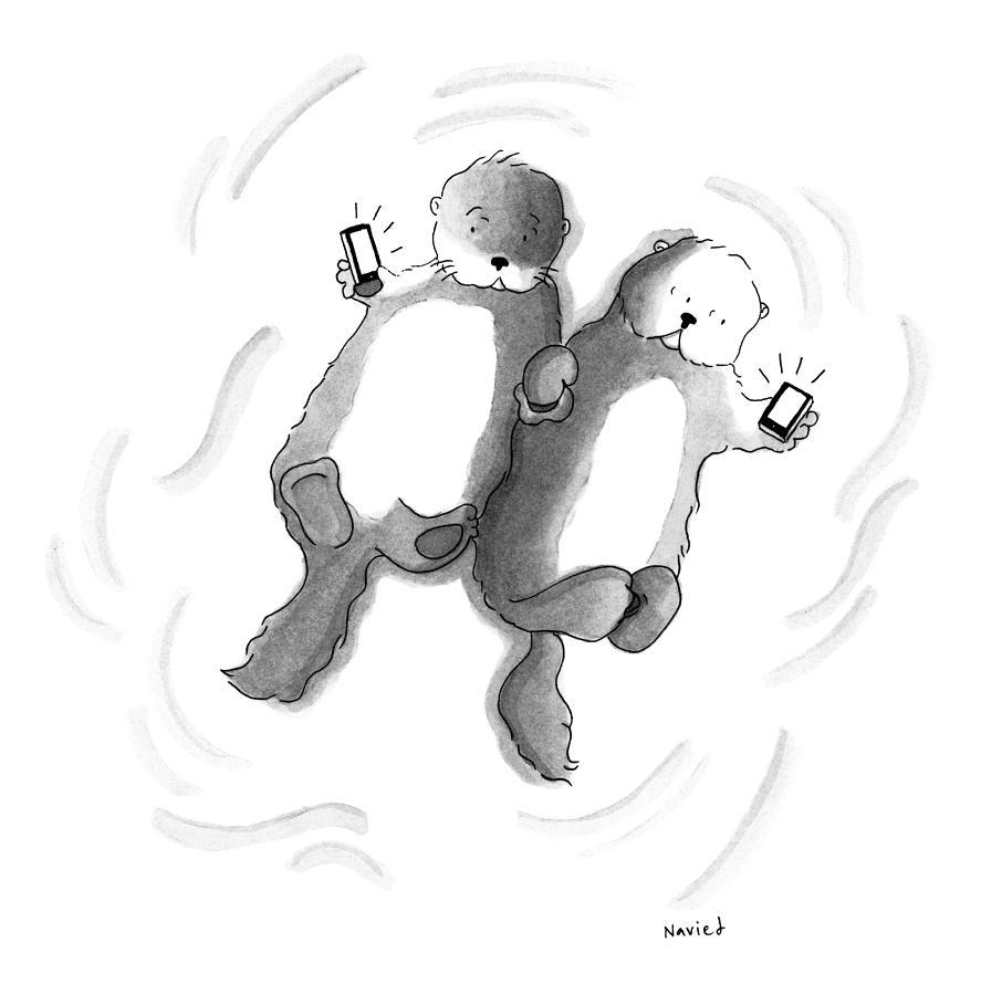 Otters Drawing by Navied Mahdavian