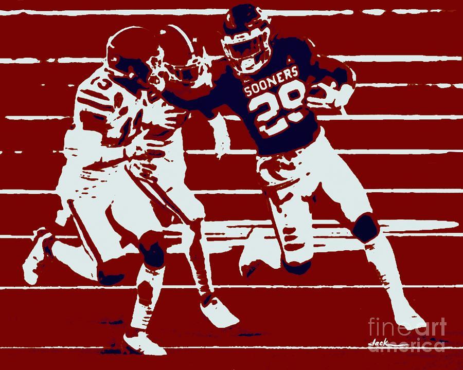 Oklahoma Painting - OU Cotton Bowl 2020 by Jack Bunds