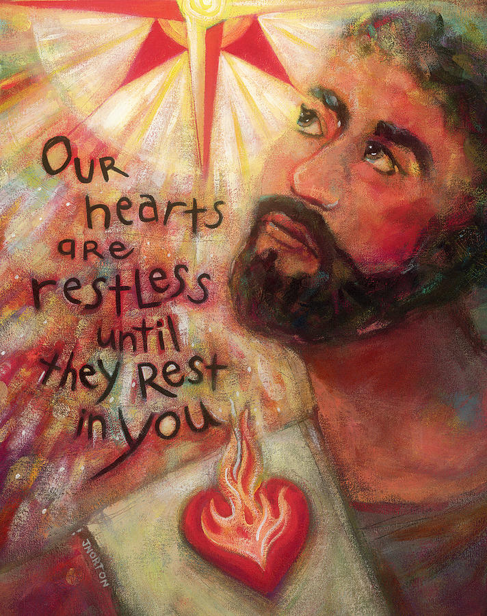 St Augustine Painting - Our Hearts Are Restless by Jen Norton