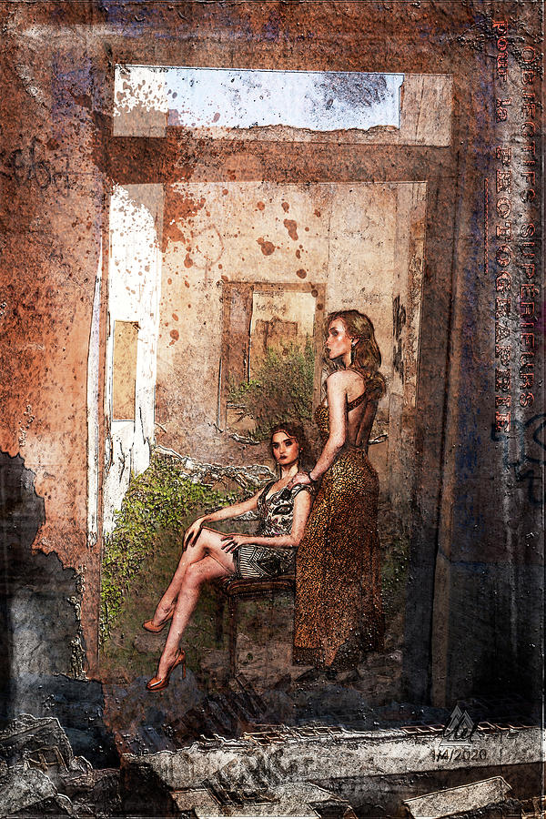 Two Society Ladies In A Derilict Building. Digital Art