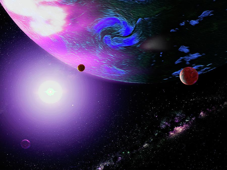 Outer Space Giant Planet and Moons Digital Art by Don White Artdreamer