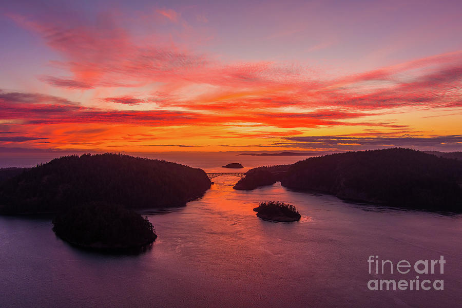 Over Deception Pass Sunset Skies Photograph