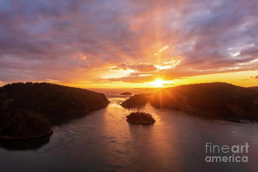 Over Deception Pass Sunset Sunrays Photograph