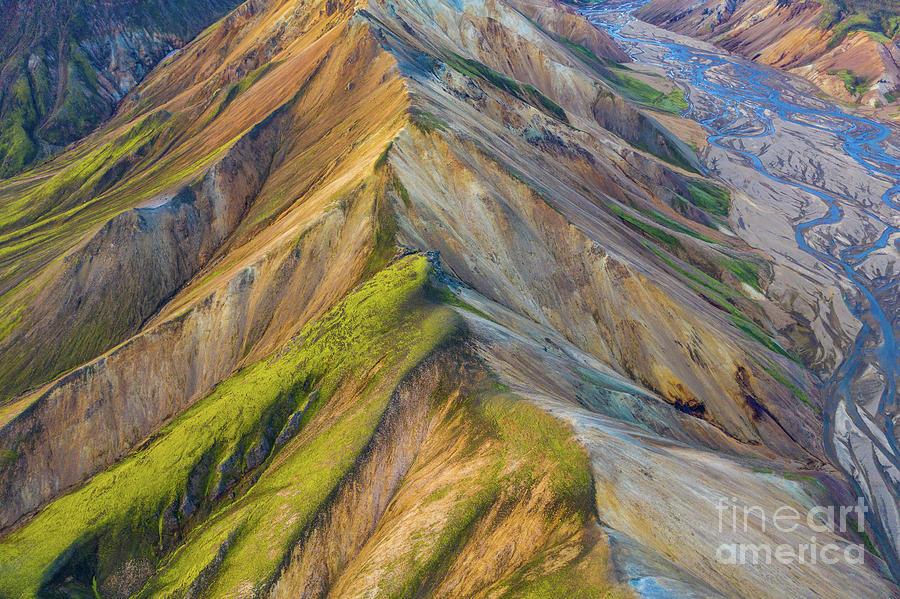 Iceland Photograph - Over Iceland Barmur Ridge Golden Light by Mike Reid