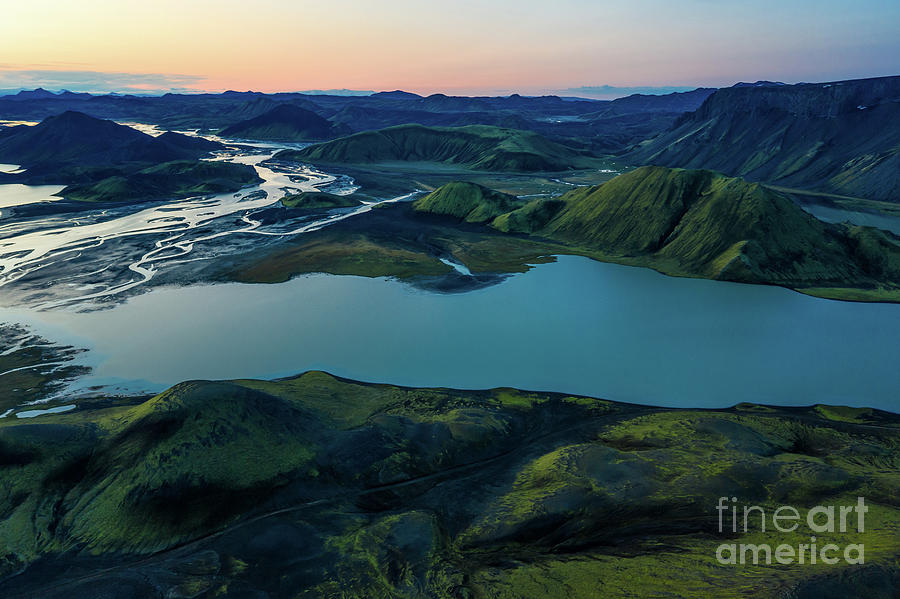 Over Iceland Blue Lake Dusk by Mike Reid