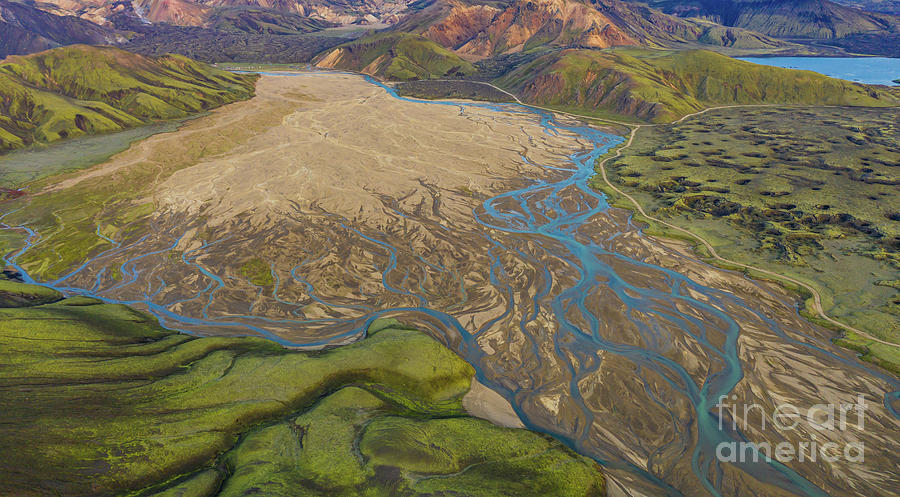 Iceland Photograph - Over Iceland Highlands Braided Rivers by Mike Reid