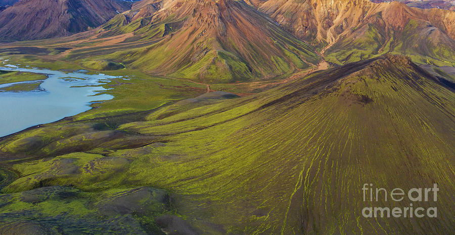 Over Iceland Lush Rhyolite Mountains by Mike Reid