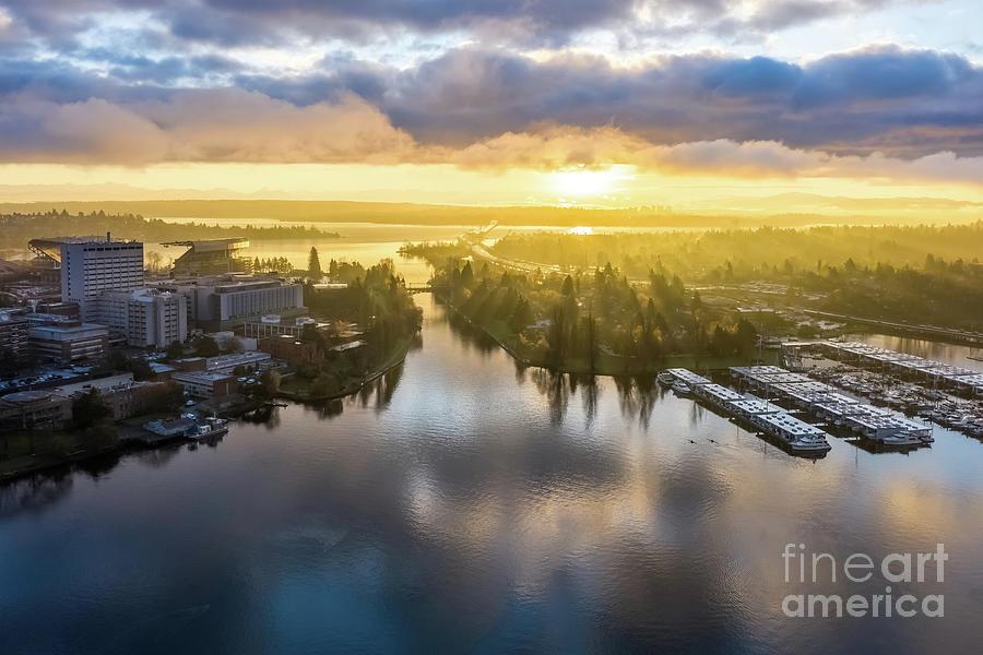 Over Montlake Portage Bay Sunrise Sunrays Photograph
