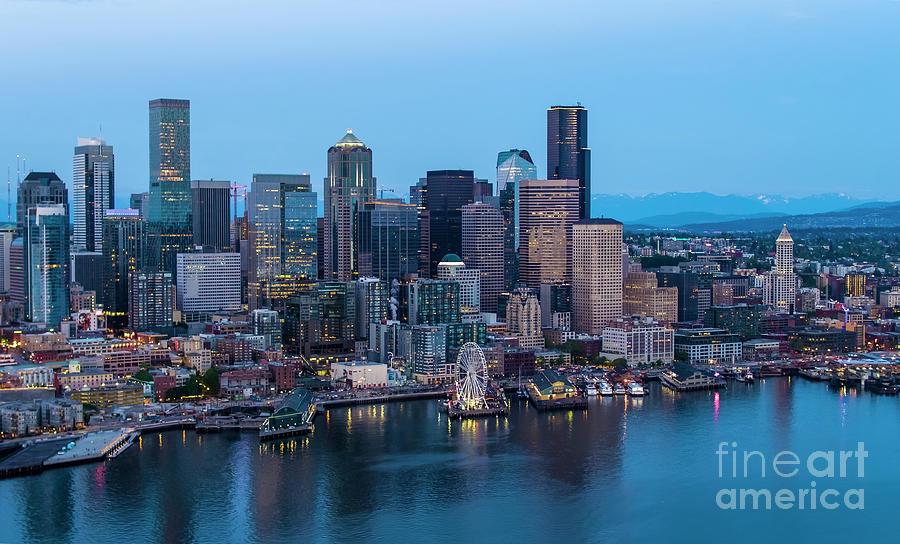 Over Seattle Blues Skyline Photograph