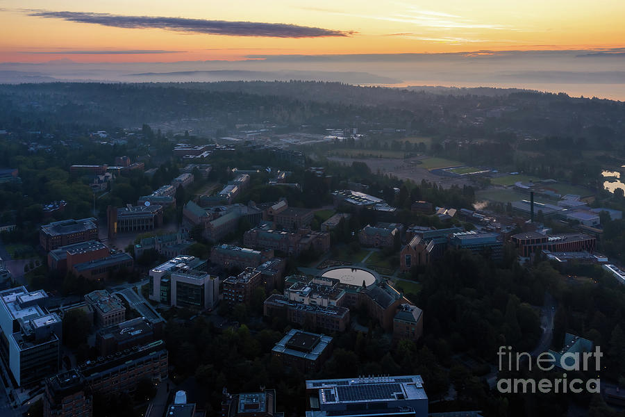 Over Seattle Dawn Above The University Of Washington Photograph