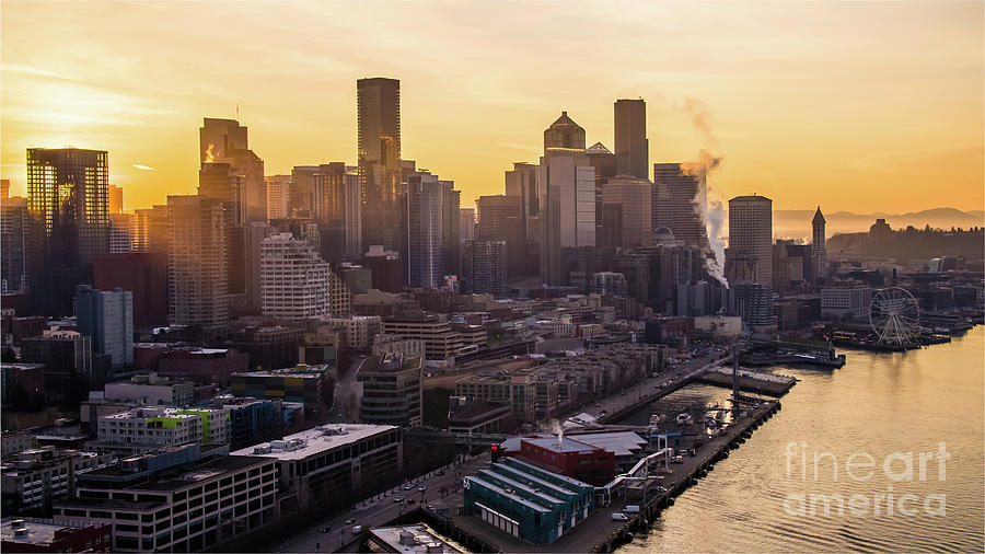 Over Seattle Dawn Sunrays Downtown Photograph