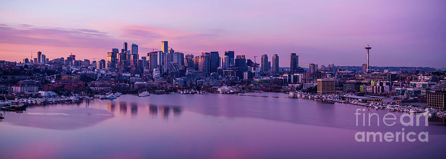 Over Seattle Lake Union And Cityscape Sunrise Panorama Reflection Photograph