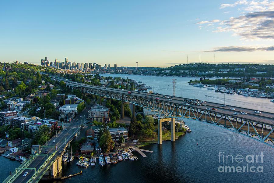 Over Seattle Two Bridges Dusk Photograph